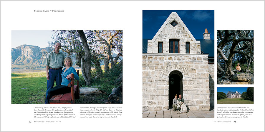 Spread from Stanford 150 : Portrait of a Village, showing contemporary photographs of Mosaic Farm